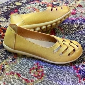 Handmade Leather flats gold yellow sneakers 6 6.5